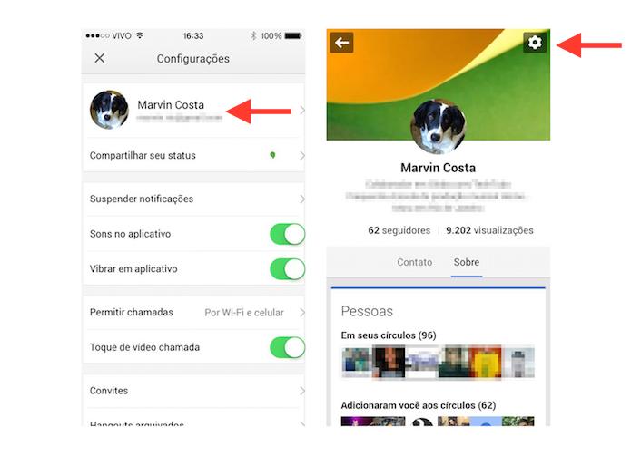 Acessando as configurações de perfil do Google+ através do Hangouts para iOS (Foto: Reprodução/Marvin Costa)