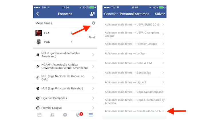 Página para escolha de times na ferramenta esportes do Facebook para iPhone (Foto: Reprodução/Marvin Costa)