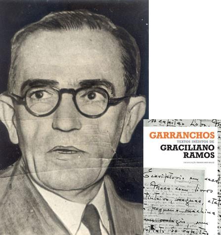 """O escritor Graciliano Ramos, em foto de 1972, e a capa do livro """"Garrancho - Achados inéditos de Graciliano Ramos"""" (Foto: Acervo Editora Globo e divulgação/Editora Record)"""
