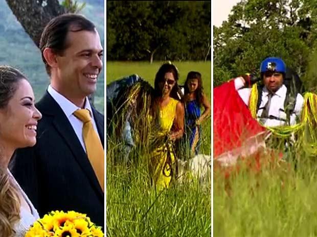 Os noivos e convidados chegando de parapente à cerimônia de casamento no Vale do Paranã, no Entorno do DF (Foto: TV Globo/Reprodução)