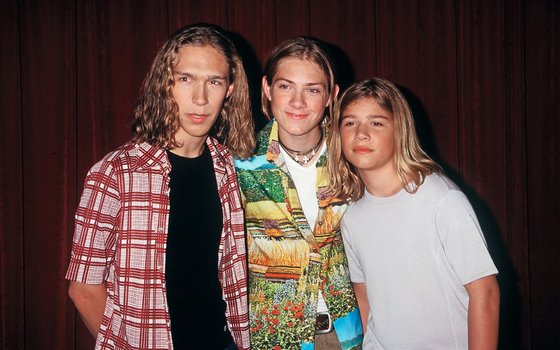 Grupo Hanson (da esq para a direita Taylor, Zac e Isaac (Foto: Getty Images)