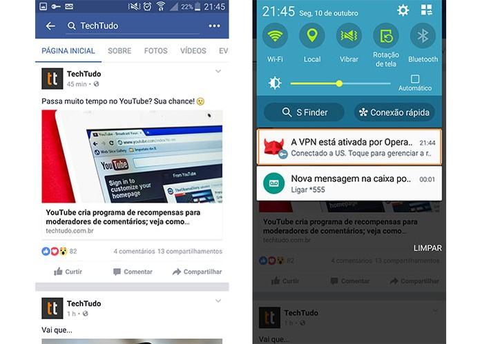 Acesse o Facebook e perceba que o VPN está ativado no celular (Foto: Reprodução/Barbara Mannara)