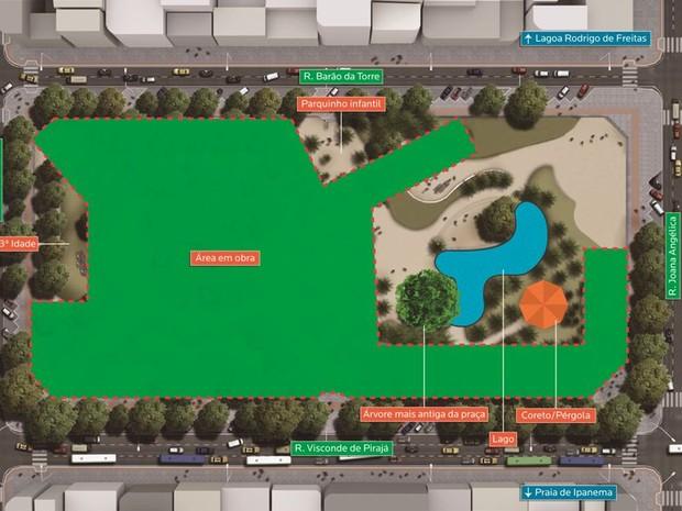 Mapa mostra área liberada a moradas da Praça N.S da Paz (Foto: Divulgação/ Linha 4 do Metrô)