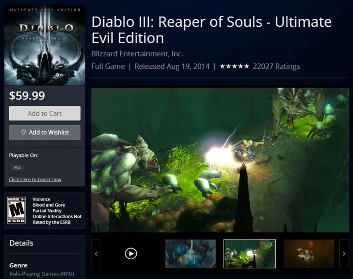 Página de Diablo 3 na PS Store (Foto: Reprodução/André Mello)