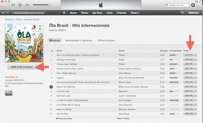 Comprando um álbum ou músicas avulsas na iTunes Store (Foto: Reprodução/Marvin Costa)