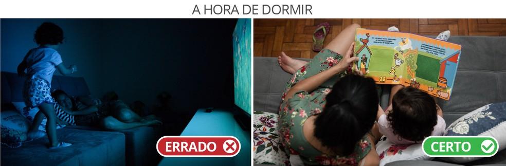 A hora de dormir - Em cena dramatizada, pais mostram duas formas de lidar com a questão.  (Foto: Marcelo Brandt/G1)