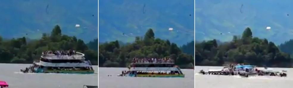 Embarcação de três andares naufragou neste domingo na represa de Guatapé, na região de Antioquia, na Colômbia (Foto: Reprodução)