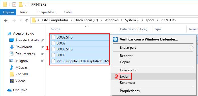 Apagando os arquivos da fila de impressão do Windows (Foto: Reprodução/Edivaldo Brito)