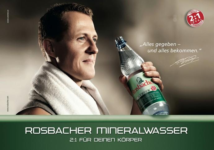 Propaganda da água mineral Rosbacher com Michael Schumacher (Foto: Reprodução)