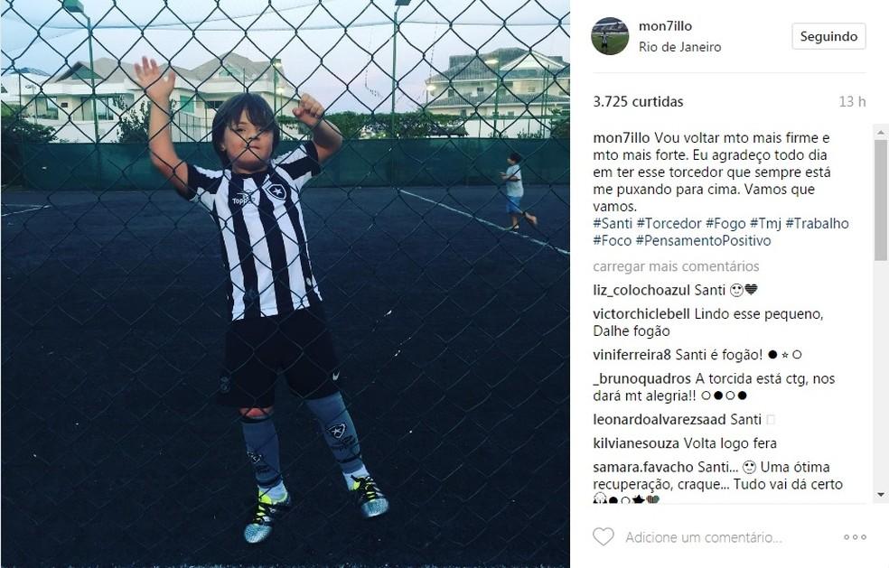 Post de Montillo no Instagram tem foto do filho Santino todo uniformizado de Botafogo (Foto: Reprodução)