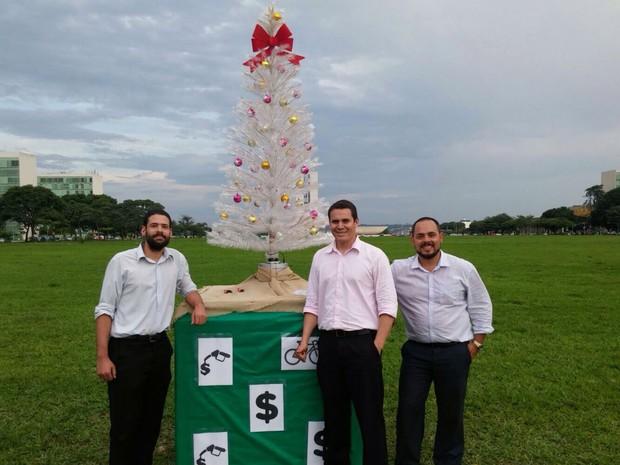 Árvore de Natal 'improvisada' por moradores do Distrito Federal; grupo protesta contra falta de decoração do GDF (Foto: Arquivo pessoal)