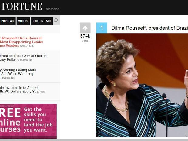 dilma Fortune site revista enquete (Foto: Reprodução)