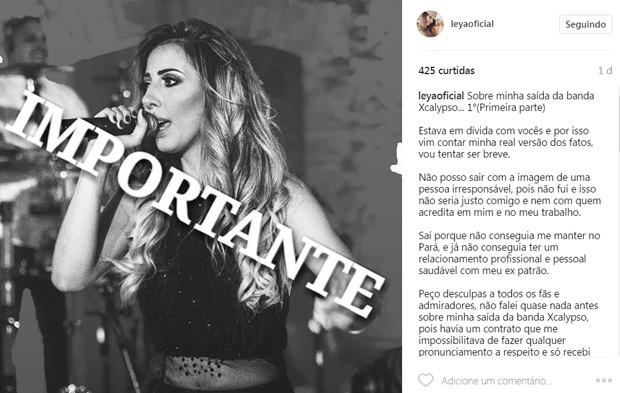 Leya Emmanuelly, ex-vocalista do Calypso (Foto: Reprodução/Instagram)