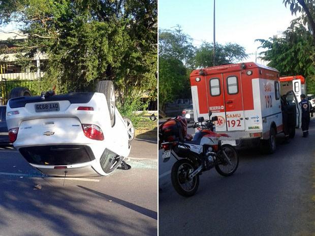 Segundo testemunhas, duas pessos estavam no carro que capotou. Elas foram socorridas pelo Samu com ferimentos leves (Foto: Reprodução / WhatsApp)