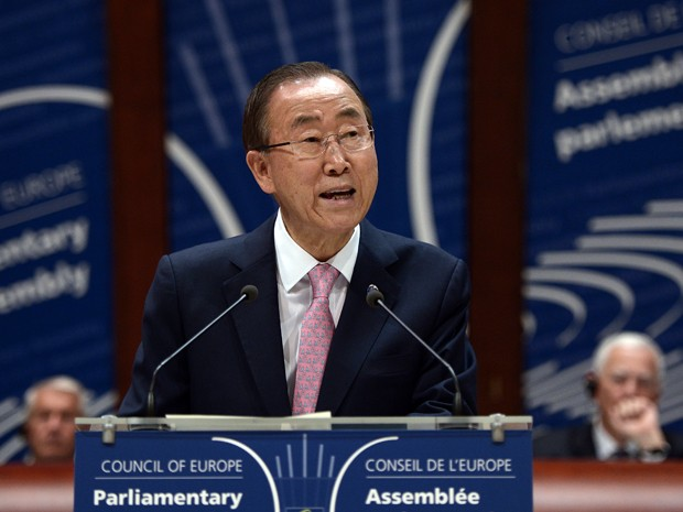 O secretário geral da ONU, Ban Ki-Moon, durante reunião do Conselho da Europa em Estrasburgo, na França, em 23 de junho (Foto: AFP Photo/Frederick Florin)