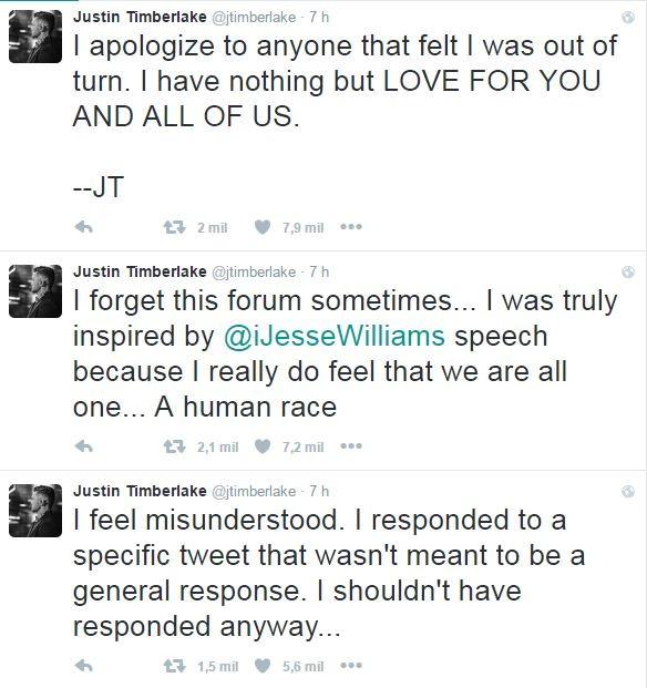 Justin Timberlake fala sobre polêmica no Twitter (Foto: Reprodução / Twitter)