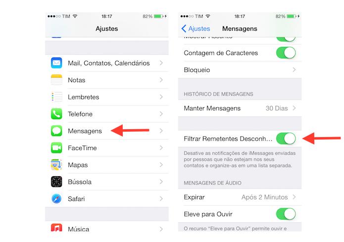 Ativando o filtro para mensagens de desconhecidos no iPhone (Foto: Reprodução/Marvin Costa)