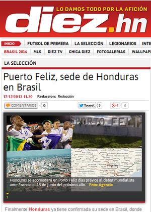 Jornal Hondurenho revela estadia da seleção em Porto Feliz durante a Copa do Mundo (Foto: Divulgação)