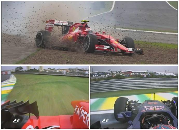 Kimi Raikkonen e Sebastian vettel saíram da pista, e Max Verstappen rodou no 1º treino livre para o GP do Brasil (Foto: Divulgação)