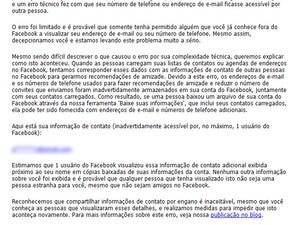 Comunicado do Facebook a usuário afetado por falha que revelou contatos de 6 milhões de usuários. (Foto: Reprodução/Facebook)