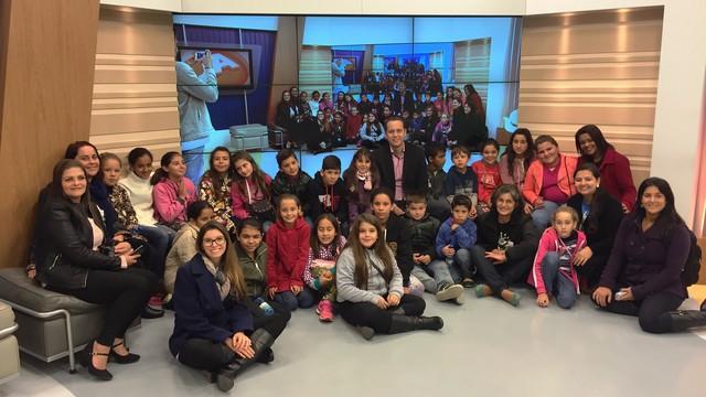 Estúdios do JA e do Bom Dia SC foi um dos locais conhecidos pelas crianças (Foto: Marina Cidade/RBS TV)