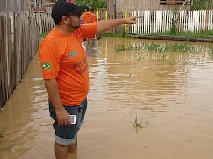 Imagem feita recentemente pela Defesa Civil na cidade de Boca do Acre (Foto: Divulgação/Defesa Civil)