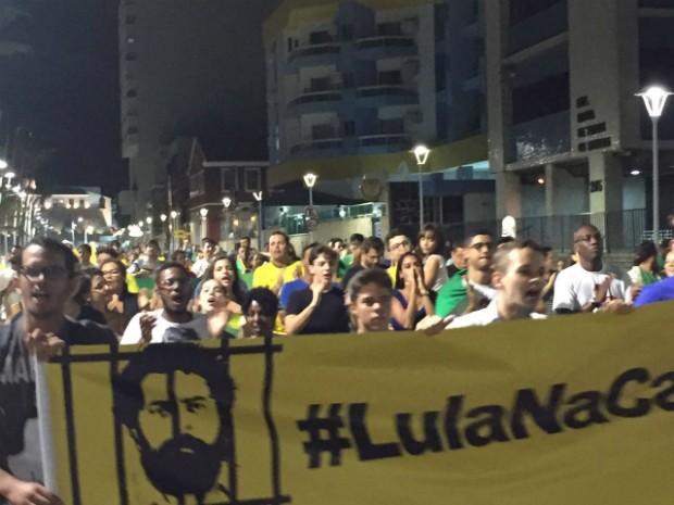 Grupo é contra a nomeação de Lula como ministro-chefe da Casa Civil (Foto: Giana Mattiazzi/TV Bahia)