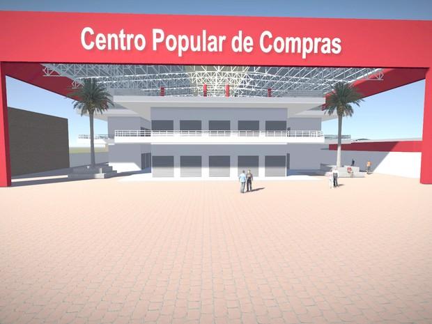 Projeto mostra como ficará o Shopping Popular após conclusão de obras (Foto: Divulgação Prefeitura de Rio Branco)