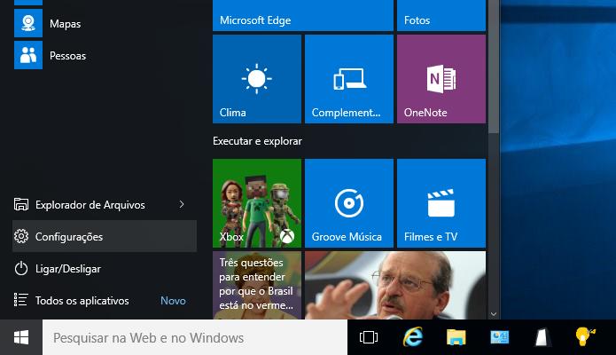 Abra as configurações do Windows 10 (Foto: Reprodução/Helito Bijora)