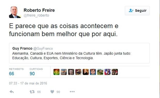 Mensagem publicada pelo novo ministro da Cultura, Roberto Freire, no Twitter (Foto: Reprodução/Twitter)