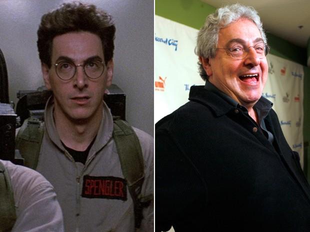 Harold Ramis em 'Os caça-fantasmas' (1984) e em evento em Chicago em 2009 (Foto: Divugalção e AP/Jim Prisching)