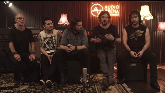 A banda Republica, no estdio AudioArena Originals (Foto: Reproduo)