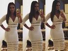 Viviane Araújo escolhe vestido justinho e longo para evento