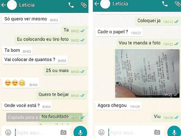 Jovem pagava para receber fotos de mulheres nuas pela internet (Foto: Reprodução/ Whatsapp)