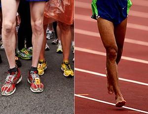 corrida de rua pés descalços tênis montagem (Foto: Editoria de Arte/Globoesporte.com)
