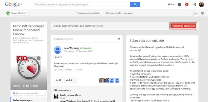 Hyperlapse Mobile para Android exige que usuário entre na comunidade do app (Foto: Reprodução/Elson de Souza)