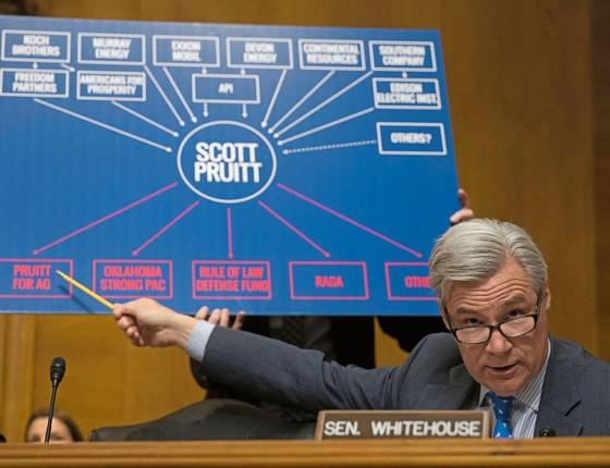 O senador Whitehouse aponta empresas de carvão e petróleo que financiaram Pruitt.Há conflito de interesse? (Foto: Michael Reynolds/EFE)