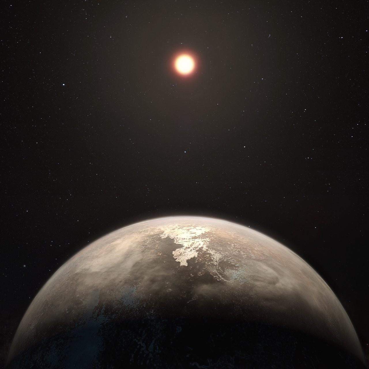 Projeção artística da Ross 128 b e sua estrela (Foto: NASA)