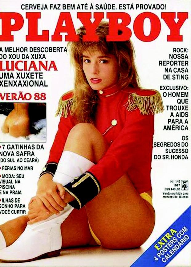 Luciana Vendramini na capa da 'Playboy', em 1987 (Foto: Reprodução)
