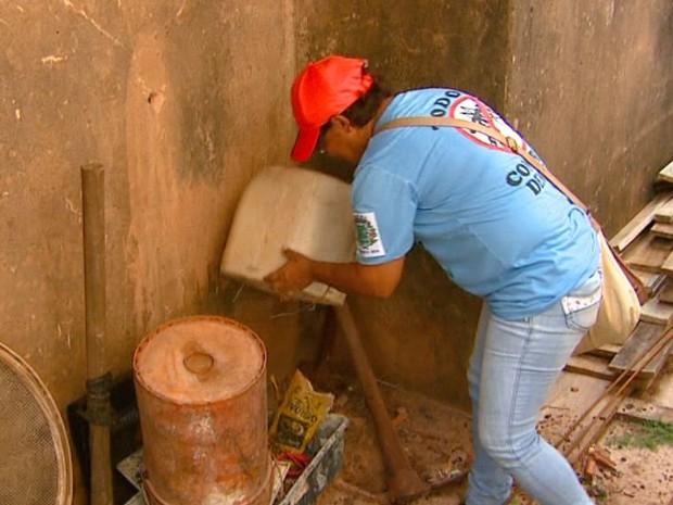 Equipe faz o controle dos criadouros do mosquito da dengue em Boa Esperança do Sul (Foto: Ely Venâncio/EPTV)