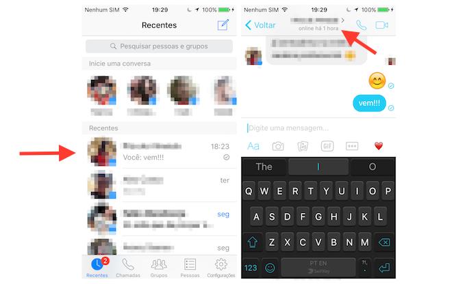 Acessando os detalhes de um chat do Facebook Messenger para iPhone (Foto: Reprodução/Marvin Costa)