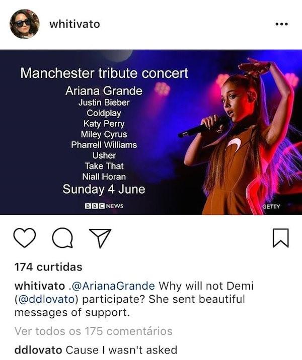 A revelação de Demi Lovato de que não foi convidada a participar da homenagem às vítimas do atentado no show de Ariana Grande em Manchester (Foto: Instagram)