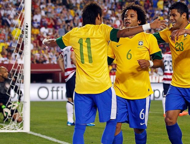 Estados Unidos x Brasil, Neymar, Marcelo e Hulk (Foto: Agência Reuters)