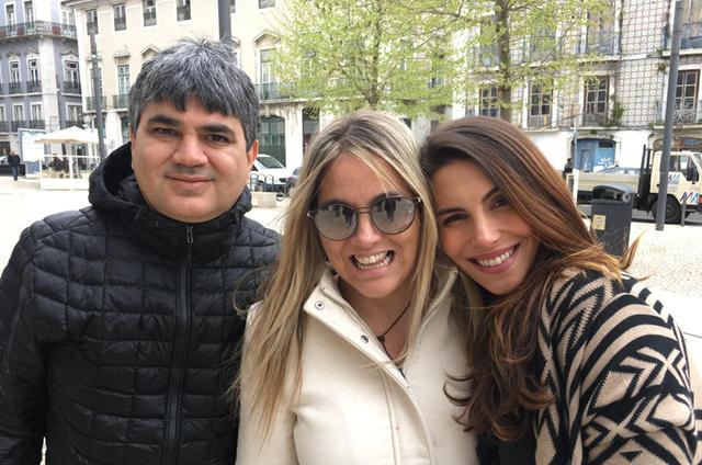 Jorge Nassaralla, Fabiana Misse e Mel Fronckowiak nas gravações do 'Destino certo' (Foto: Arquivo pessoal)