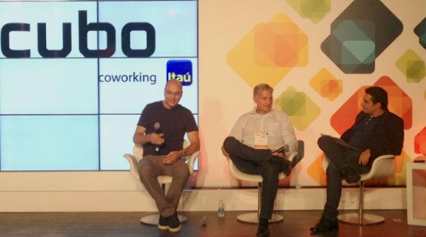 Andy Rubin, criador do Android, Jeff Brody, do Redpoint Ventures, e Romero Rodrigues, do Buscapé (Foto: PEGN)