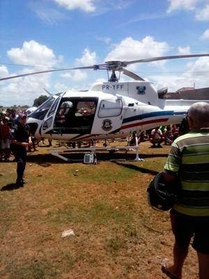 Helicóptero Potiguar 1 fez o transporte do policial de Santo Antônio até Natal (Foto: Divulgação/Sesed-RN)