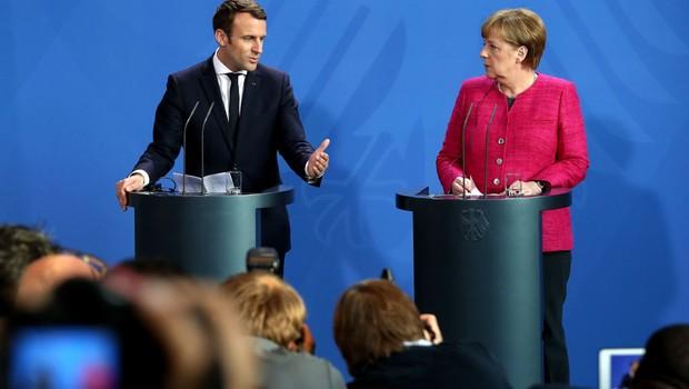 Emmanuel Macron encontra chanceler alemã Angela Merkel em Berlim (Foto: Getty Images)