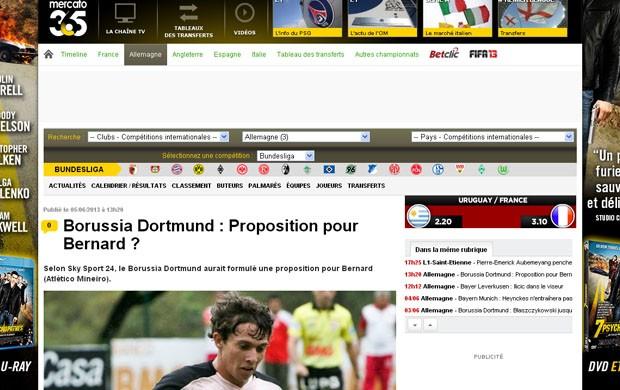 Site Mercatto anuncia interesse do Borussia por Bernard (Foto: Reprodução / site Mercatto)