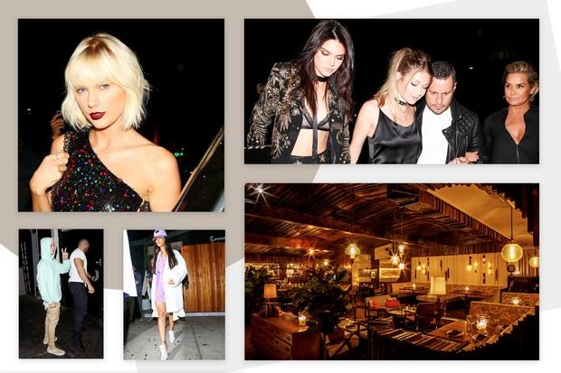 Taylor Swift, Justin Bieber, Rihanna, Kendall Jenner e Gigi Hadid na boate The Nice Guy (Foto: Reprodução)