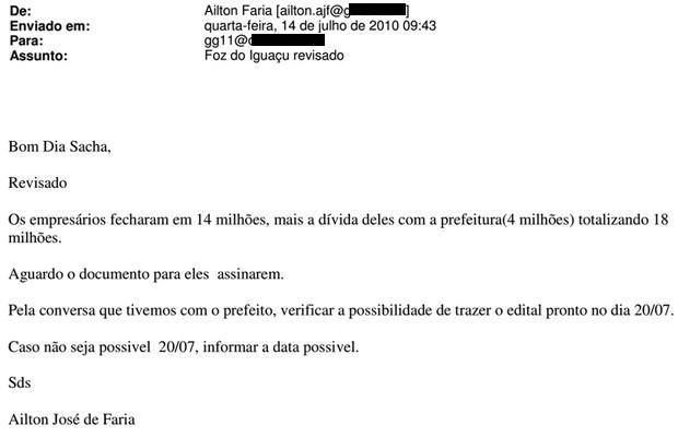 VALE ESTE_Trecho de e-mail de Ailton Faria sobre edital de Foz do Iguaçu (Foto: Reprodução)